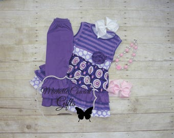 Sleeveless Outfit, Fall, Ruffle Pants, Girls Outfit, Toddler Outfit, 12M, 18M, 24M, 2T,  3T, 4T, 5 6, Matilda Jane, Birthday, School, Purple