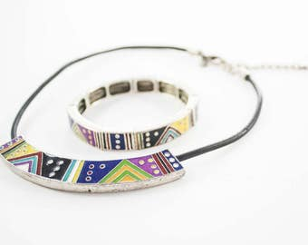 Vintage CHICO'S Signed Silver Tone Multi Color Enamel Stretch Bracelet Bar Necklace Set Boho Style