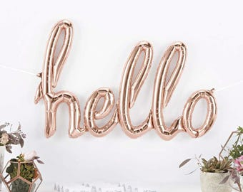 Hello Balloon - Giant Hello Script Balloon - Rose Gold Hello Balloon - Rose Gold Balloons