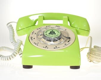 Vintage Rotary Dial Phone Light Green (Lime) Glossy Telephone Made in USA