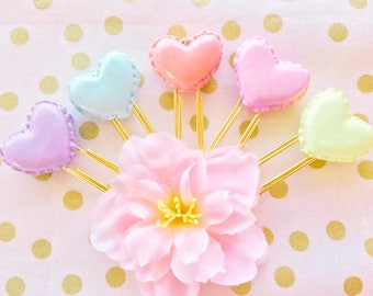 Sweet Kawaii Pastel Heart Macaroons -  Handmade Polymer Clay Charm /  Planner Clips / Planner Accessories