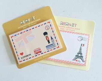 London Sticky Notes, Paris Sticky Notes, Travel Post It Notes, Reminder Notes, Memo Pad Stickers, Planner Page Marker Stickers, Memo Notes