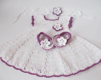Crochet Baby Dress flip flops headband set, Newborn dresses, white purple baby dress, baby headband dresses set, Baby dress, Baby shower