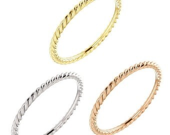 1.5 mm wide (thin) Designer Style Rope Ring in 14K Yellow, White or Rose Gold