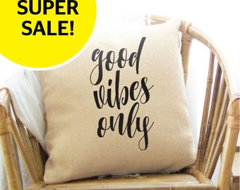 """Good Vibes Only pillow cover - 18""""x18"""" linen pillow cover - rustic pillow cover with black letters"""