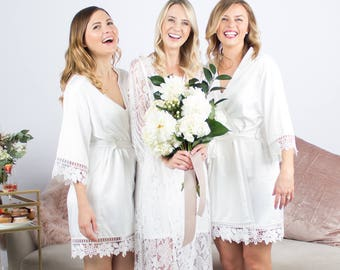 Lace Bridal Robe // Bridesmaid Robes // Robe // Bridal Robe // Bride Robe // Bridal Party Robes // Bridesmaid Gift // Satin Robes