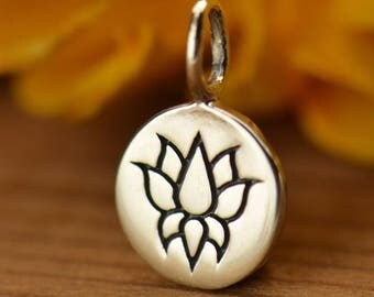 Sterling Silver Lotus Disc Charm