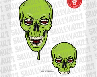 Comic Book Skull Vector Illustration - Tooth-Eyed Monster
