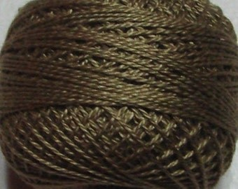 VALDANI Size 12   S234 Khaki Olive   Pearl Cotton   Solid Color   Hand Dyed Thread   109 Yard Cotton Ball