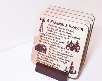 FARMER'S PRAYER COASTERS - Farm Life - American Farmer - Coaster Set - Rural Life - Farm Family - Christian Farmer - Farm Decor - Gift Set
