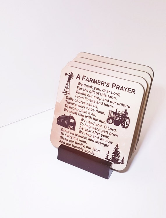FARMER'S PRAYER COASTERS - Farm Life - American Farmer - Coaster Set - Rural Life - Farm Family - Christian Farmer - Farm Decor - Gift Set