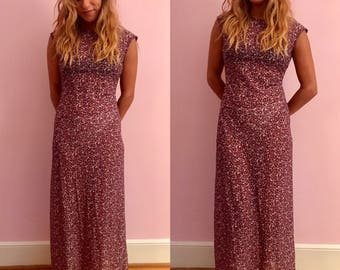 Vintage 90s Sheer Floral Print Maxi Dress by California Concepts size Small