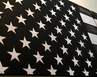 Hand painted Black and White American Flag Wall Art