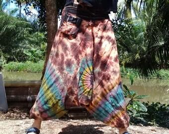 Mens Tie Dye Harem Pants Baggy Pants Ninja Pirate Drop Crotch Peach Mix