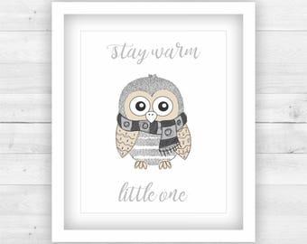 Neutral Gender Nursery Decor Poster Print Digital - winter owl