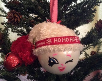 Awesome hand painted snowball glass ornament with fuzzy hat and Shopkins face