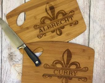 NOLA fleur de lis wooden chopping board