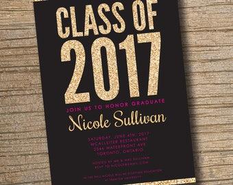 Gold Glitter Graduation Party Invitation, Printable Graduation Invitation, Celebration Glitter Digital Invite Glam, Class of 2017