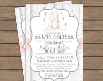 Birch Bunny Baby Shower Invitation - Woodland - Gray Pink - Bunny Rabbit  - Baby Girl- Brunch Invite - Printable
