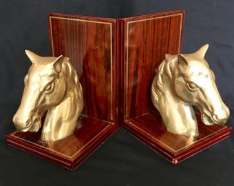 Stately Horse Head Bookends Brass