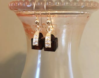 Gold swarovski crystal mocca earrings