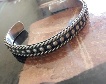 SB8 TL-150 Mexico 925 Sterling silver bead ball dot modernist Mexico vintage cuff bracelet