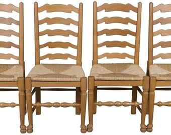 Vintage Set of Four Light Oak Ladder Back Kitchen Chairs