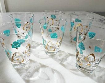 6 Vintage Boomerang, Atomic, Amoeba Glasses, Turquoise, Gold, Lowballs, Shot