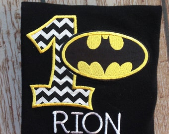 Custom embroidered and personalized batman inspired birthday shirt