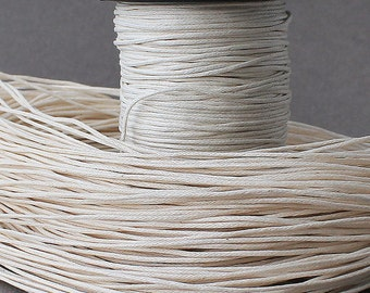Ivory White Waxed Cotton Cord, 1mm Wax Cord - 10 m (32,81 feet), Cotton Cord, Woven Waxed Cotton Cord, Shamballa Jewelry Making, Stringing