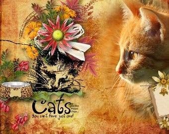 Digital Scrapbook kit for Pets, Cat theme - Kitty cat Kit embellishments , Papers cute furry friends, Realistic cats, flowers and foliage