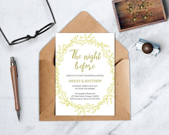 Pre Wedding Dinner Invitation: The Night Before Rehearsal Dinner Invitation, Wedding