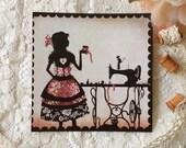 Postcard - Illustrated postcard - Silhouette - needlewoman - At the studio
