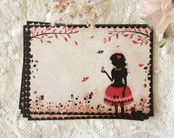 Postcard - Illustrated postcard - miss shadow - silhouette - cameo - strawberry - Strawberry Field