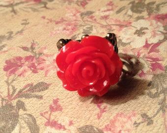 Large Red Rose Filigree Ring