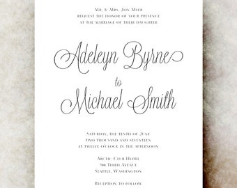 Calligraphy Wedding invitation printable, Black and white wedding invitation, elegant wedding invitation, wedding invitation set