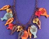 SALE!  Wooden Mid Century Fish Litewood Necklace