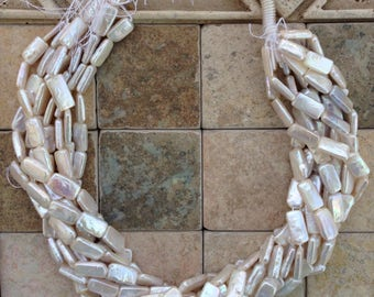 White rectangular freshwater pearls