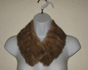 True Vintage Mink Collar,Beige/Brown Mink,Retro, 1950's,Fem,Ren Faire,Classic Style, Fur Collar