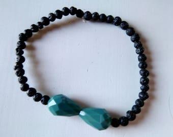 Bracelet with lava beads and crystal drops