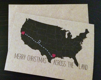 """CUSTOMIZABLE  """"Merry Christmas across the land"""" - US map notecards  (Set of 2)"""