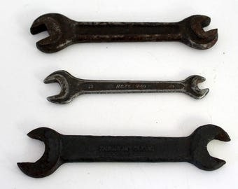 Three Vintage Open End Wrenches, Hazet V-10, Fairmount Cleve  Wrench