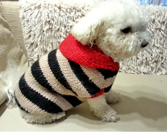 Dog Hoodie Sweater - DOG clothes - PET clothing - Black & beige stripes sweater for small dogs