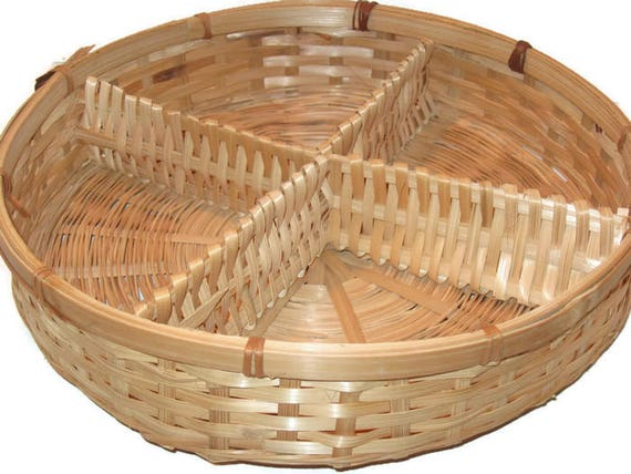 Vintage Wicker Basket Divided Basket Serving Basket Home