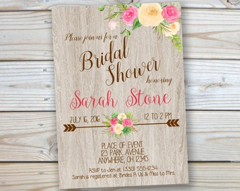 Bridal Shower Invitation - Rustic - Wood - Watercolor Flowers - 5x7 - Customized Printable - Invitation