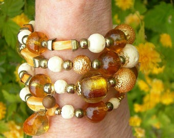 Amber glass and gold wrap bracelet