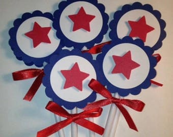 4th of July Cupcake Toppers, Red White and Blue, 4th of July Decorations, 4th of July Ideas, Holiday Decorations, 4th of July Party