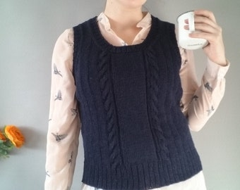 Ladies knitted slipover 1940s style sweater hand knitted pure wool tank top