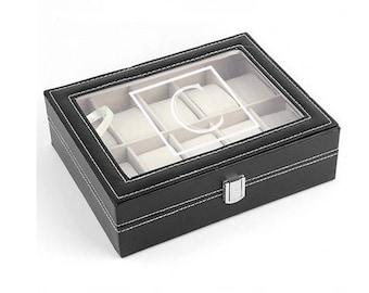 Men's Watch Box, Engraved Watch, Monogrammed Watch Box, Personalized Black Watch Box, Men's Jewelry Box, Watch Case for Men, 10 Slot Watch