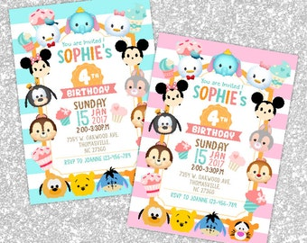 DIGITAL Tsum Tsum Invitation, Tsum Tsum Party, Tsum Tsum Birthday Invitation, Girl Boy Tsum Tsum Invitation, Tsum Tsum Theme Printables